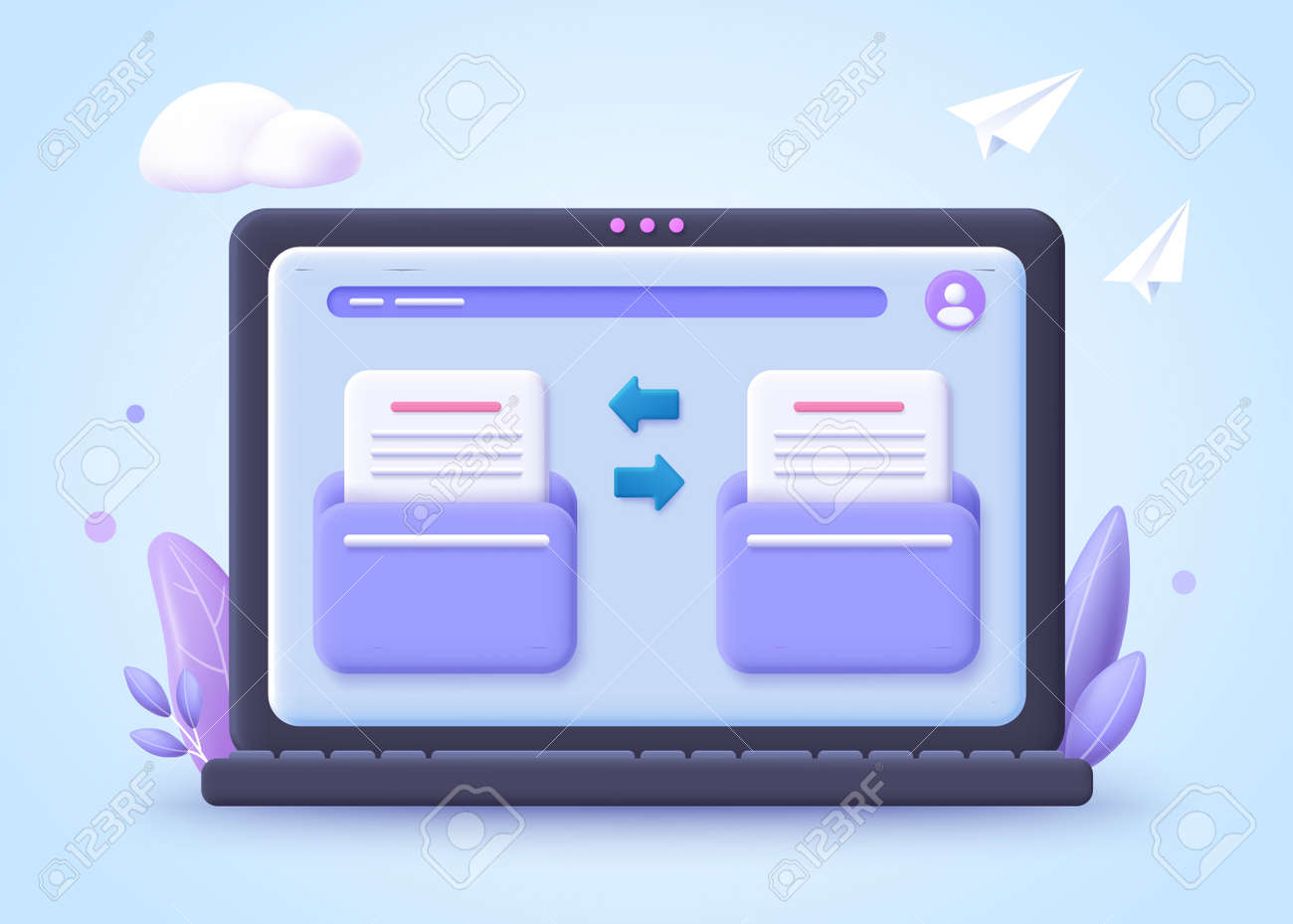 File transfer concept. Two folder with document and files transfering. 3d vector illustration. - 168117462