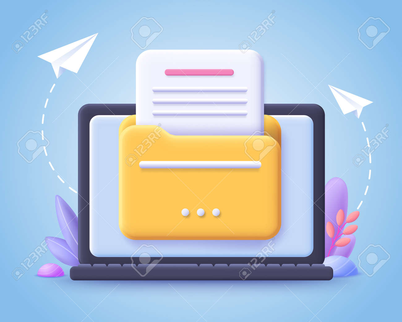 File transfer concept. Yellow folder with document on computer monitor. 3d vector illustration. - 168116910