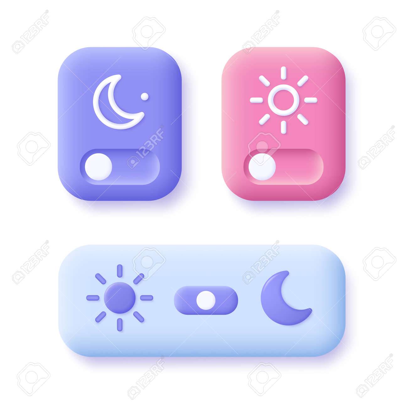 Day and night mode switch icon set. Interface ui symbol concept. On Off or Light and Dark Buttons. 3d vector illustration. - 168116912