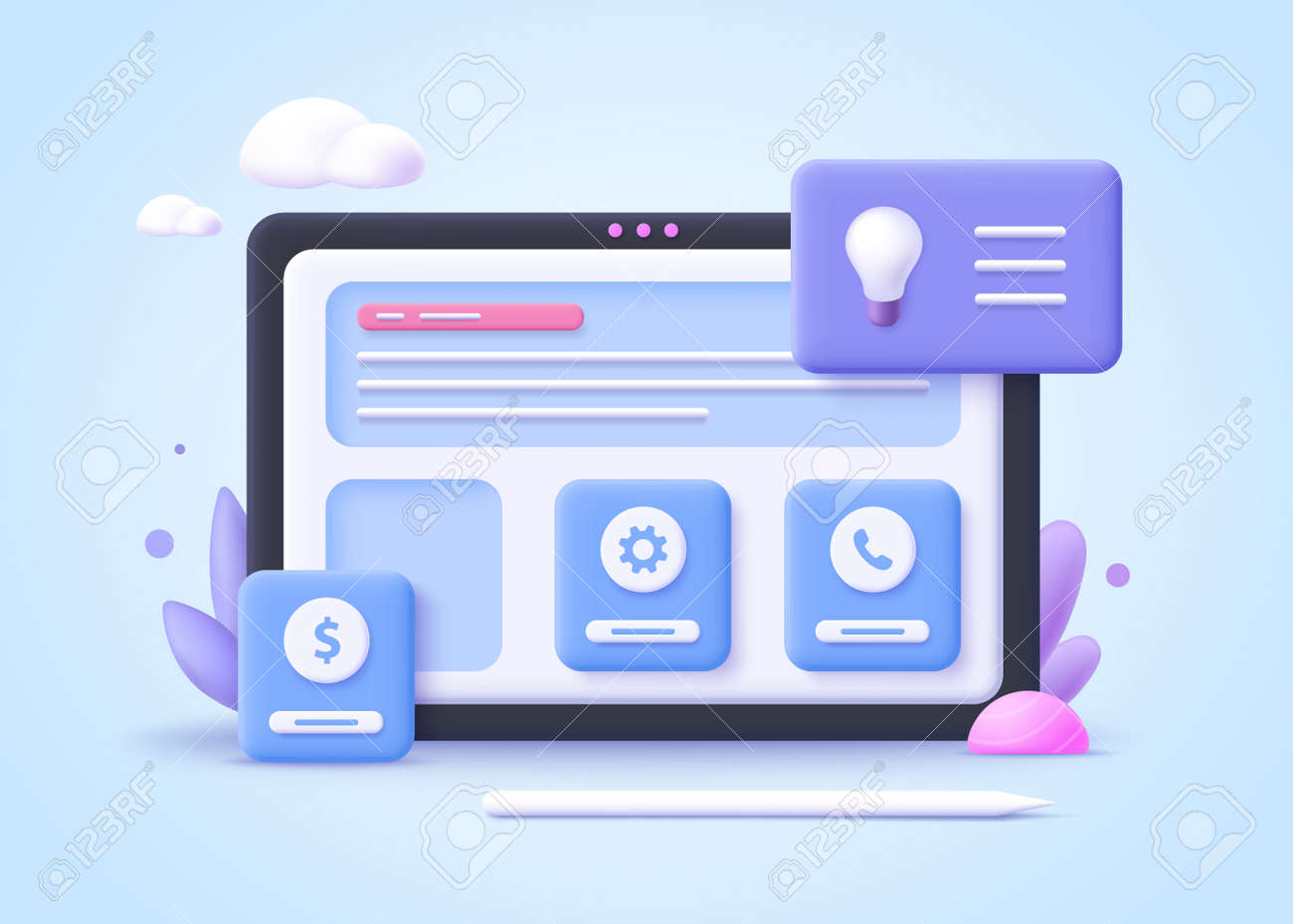 Concept of start up business project. 3d vector illustration. - 168508702