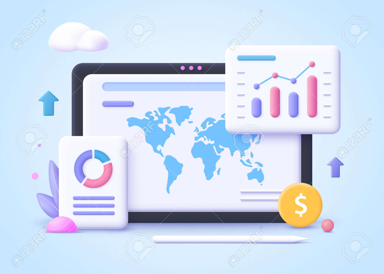 Concept of business trend. Trend analysis and project promotion. 3d vector illustration. - 168737126