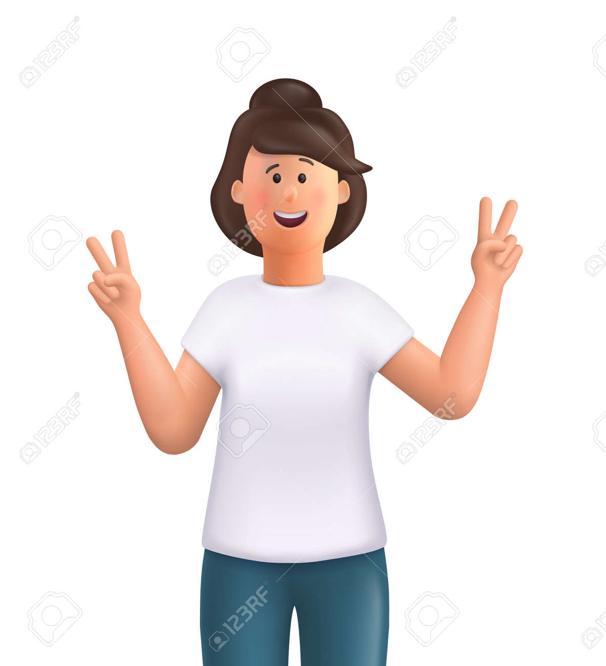 Young woman Jane showing victory fingers sign. Positive emotions with gestures - victory symbol, peace hand. 3d vector people character illustration. - 168737130
