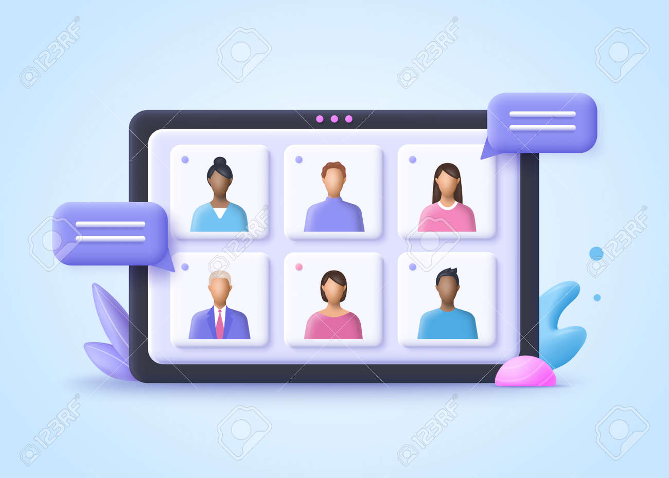Online Meeting, Virtual Conference Video call, Briefing, Teamwork Concept. 3d realistic vector illustration. - 169499953