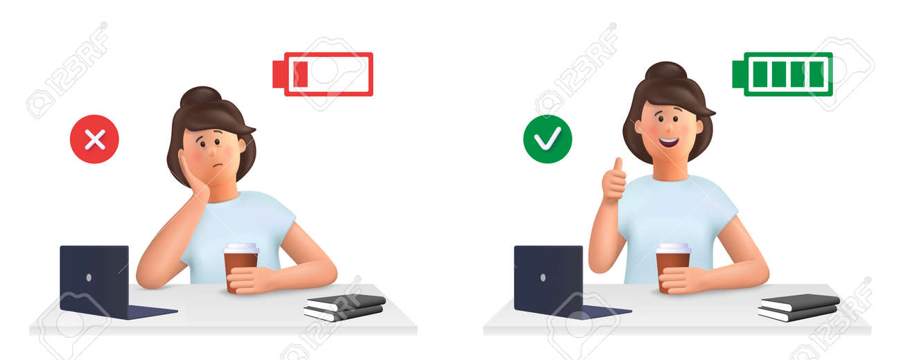 Young woman Jane - burnout concept. Tired, sleepy woman and happy, energetic woman with full and low energy battery working on computer in workplace .. 3d vector people character illustration. - 169499955