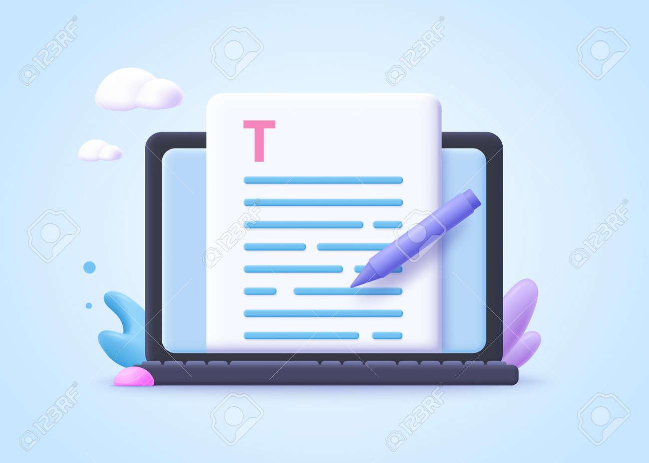 Editable online document concept. Creative writing, storytelling, copywriting, online education. 3d vector illustration. - 169679138