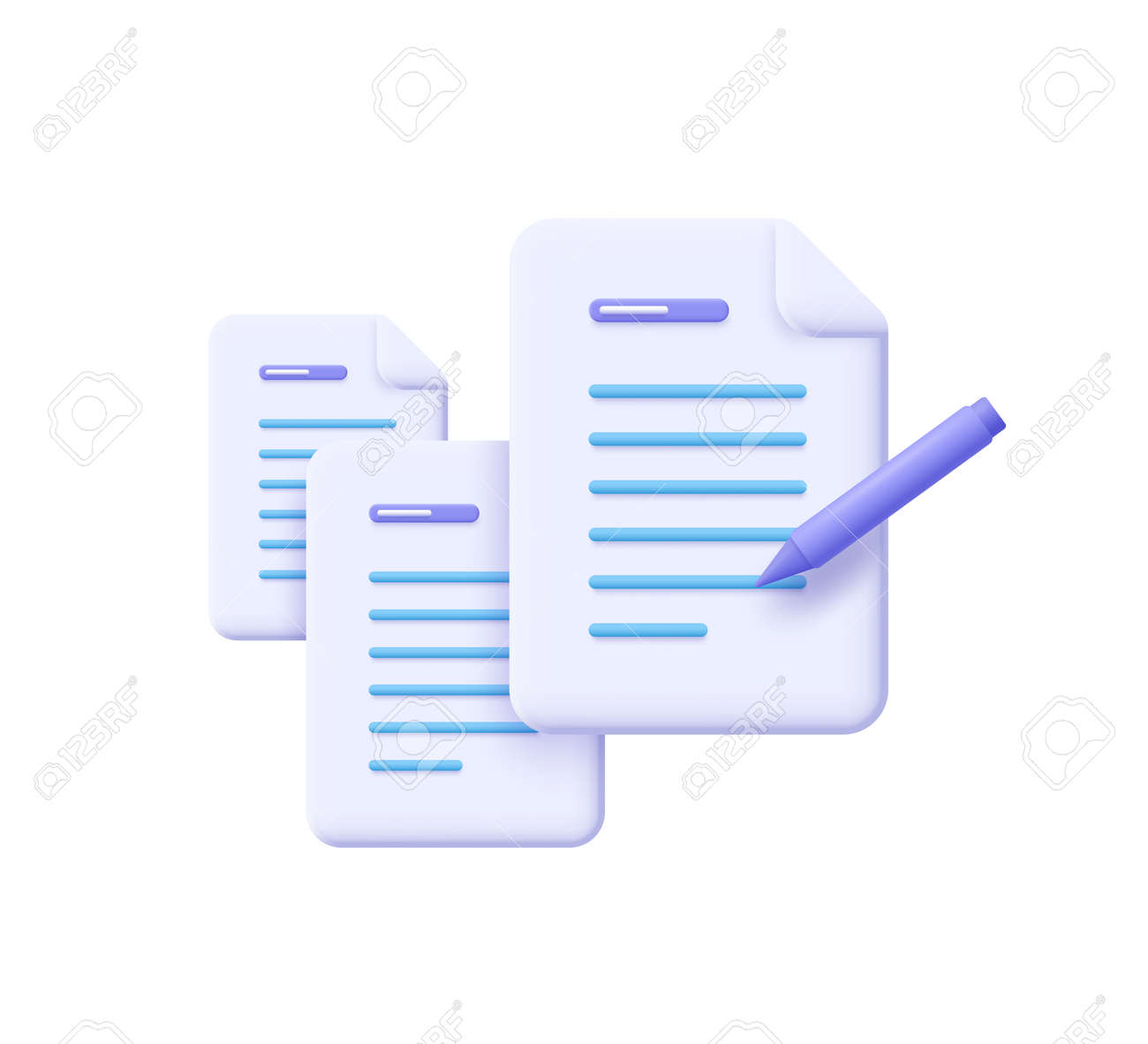 Creative writing and storytelling, brief, contract terms and conditions, document paper, assignment concept. 3d vector illustration. - 171516841