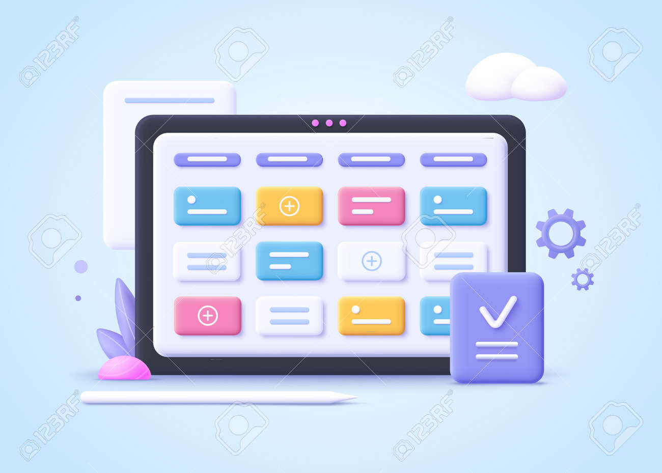 Concept of kanban board, agile project management concept, work schedule organization, time planning and workflow managing.3d realistic vector illustration. - 170709868