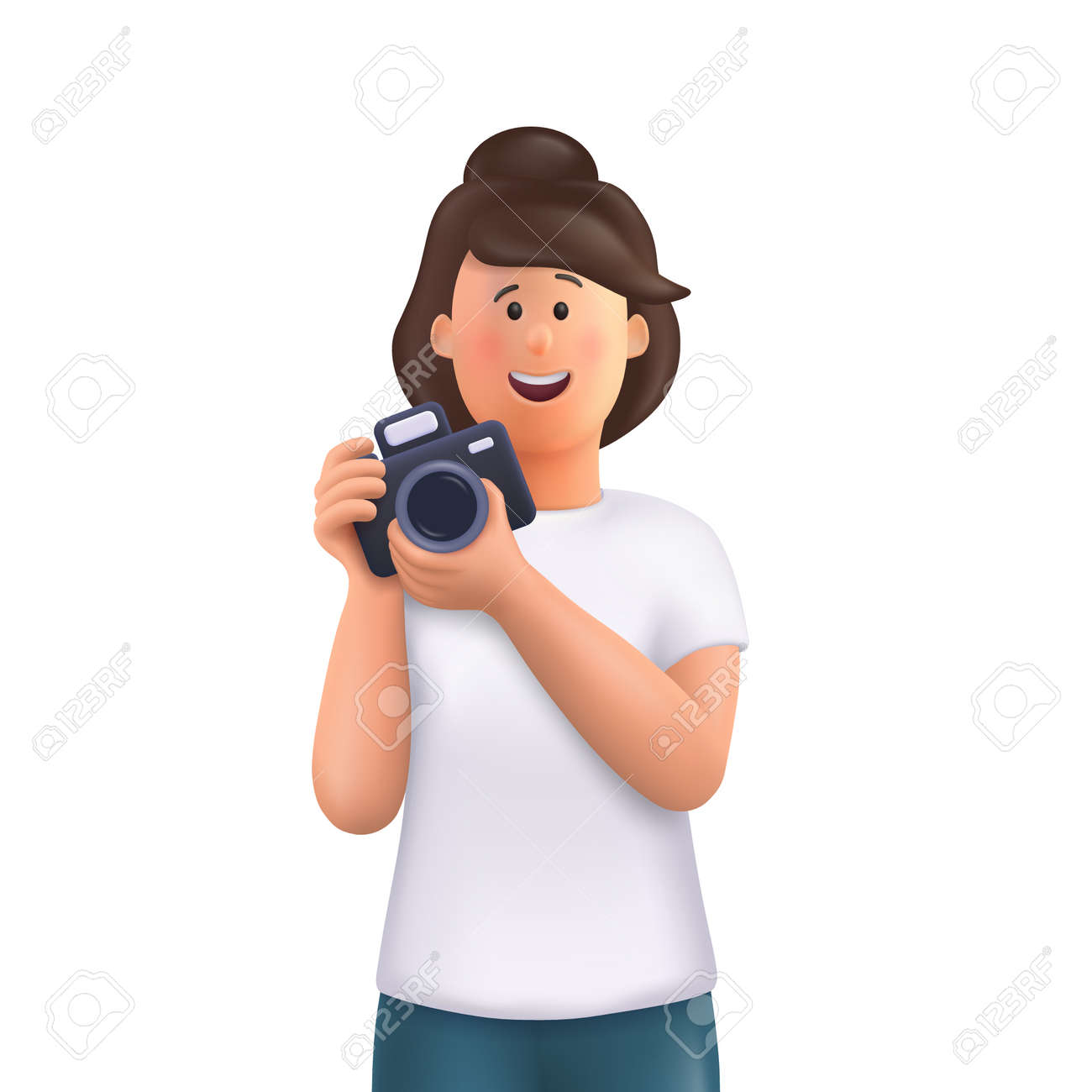 Young woman Jane holding camera, taking photo and smiling. Professional photographer, cameraman concept. 3d vector people character illustration. - 170510150
