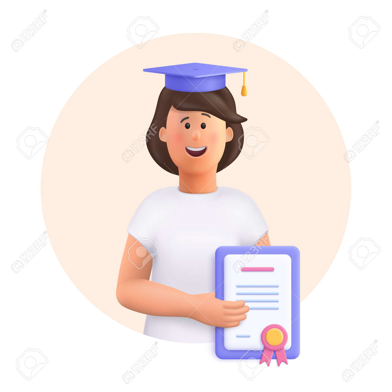 Young woman Jane - student in graduation cap and robe standing, holding diploma or certificate. Academic degree and achievements. 3d vector people character illustration. - 170745476