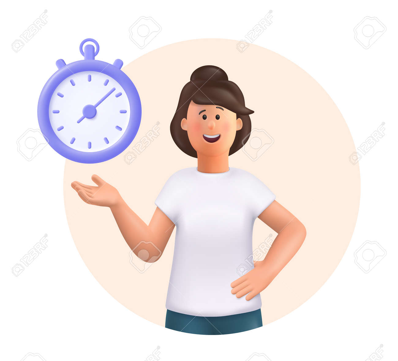 Young woman Jane standing, smiling, pointing to timer. Time set, timing, self organization, day planning, time management concept. 3d vector people character illustration. - 170745577