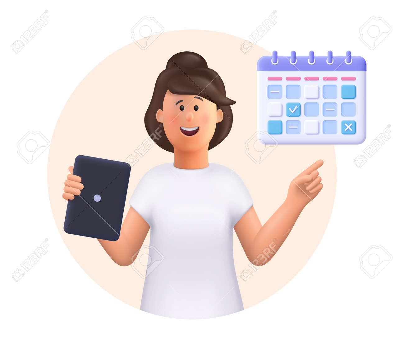 Young woman Jane holding tablet, showing plan schedule, planning day scheduling appointment in calendar application. Business planning, events, reminder and timetable.3d vector people illustration. - 171273078
