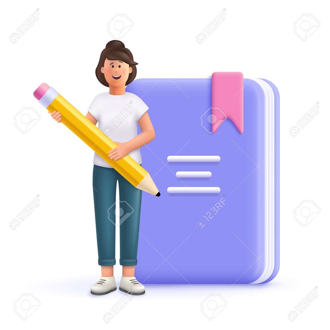 Young woman Jane holding pen front of huge book. Prepare to examination, make homework, read and learn. Education, university, college concept. 3d vector people character illustration. - 171273330