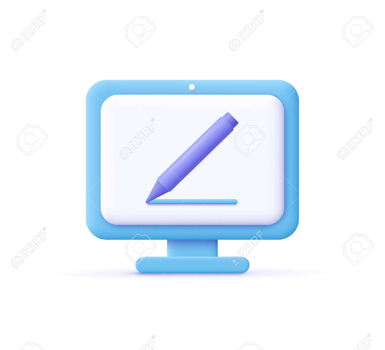 Copywriting, writing icon. Computer and pencil. Creative writing and storytelling, education concept. Writing education concept. 3d vector illustration. - 171225037