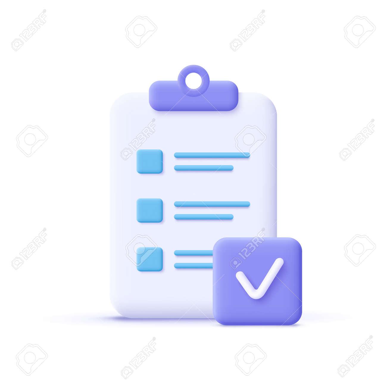 Assignment done icon. Clipboard, checklist symbol. 3d vector illustration. - 171406199