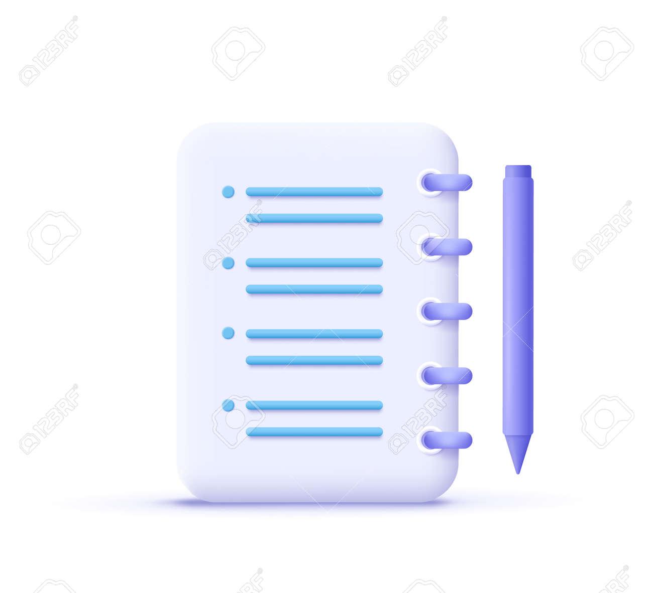 Assignment icon. Clipboard, checklist, document symbol. 3d vector illustration. - 171413963