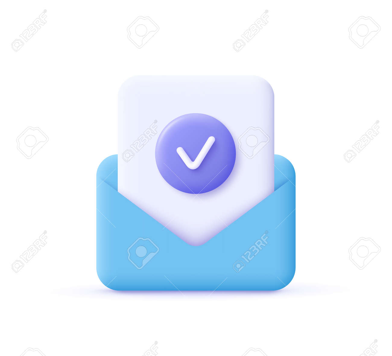 Check mark icon. Approvement concept. Document and postal envelope. 3d realistic vector illustration. - 171442938