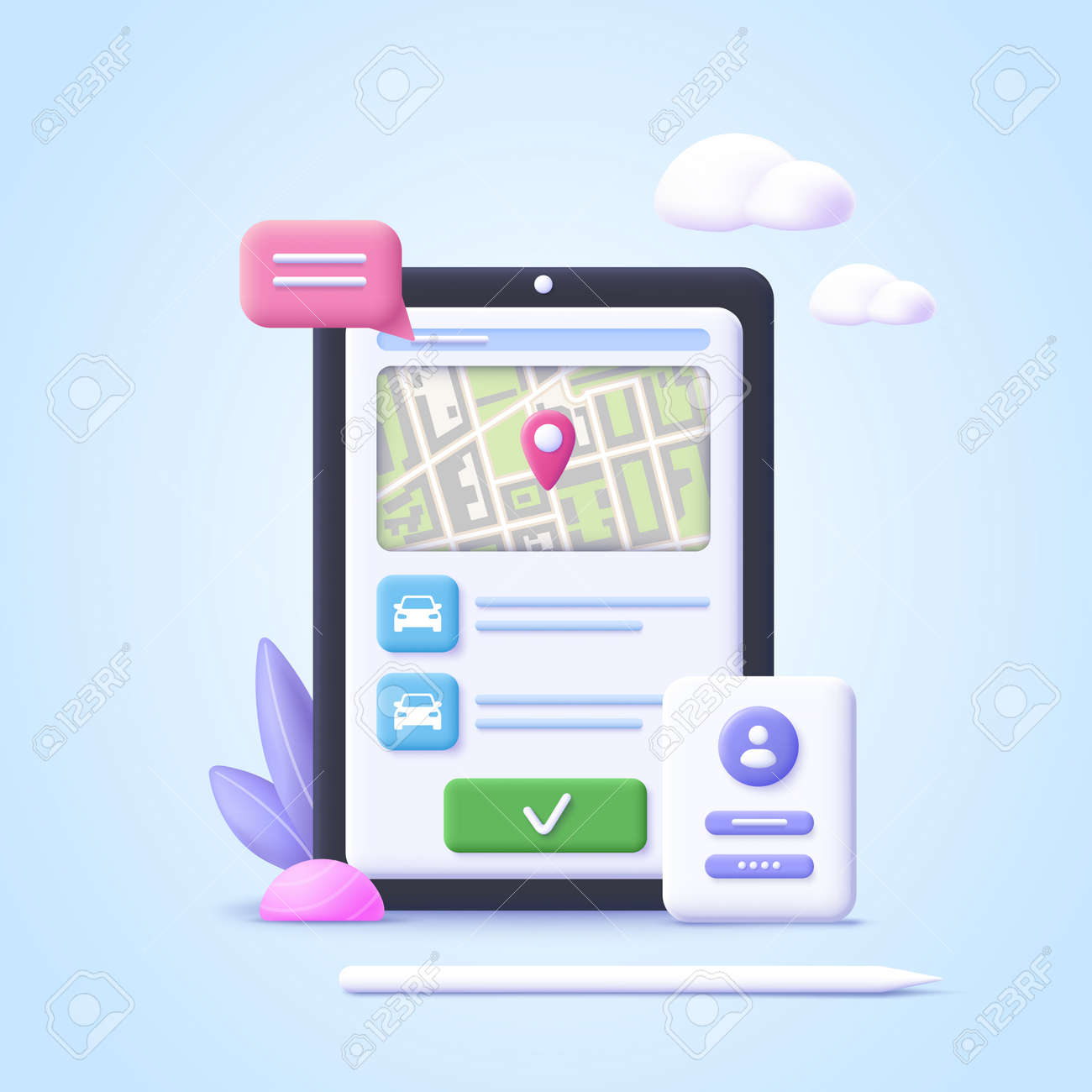 Concept of online car sharing service, ordering taxi car, rent. Smartphone app. Phone with location mark and smart car. 3d realistic vector illustration. - 171546924