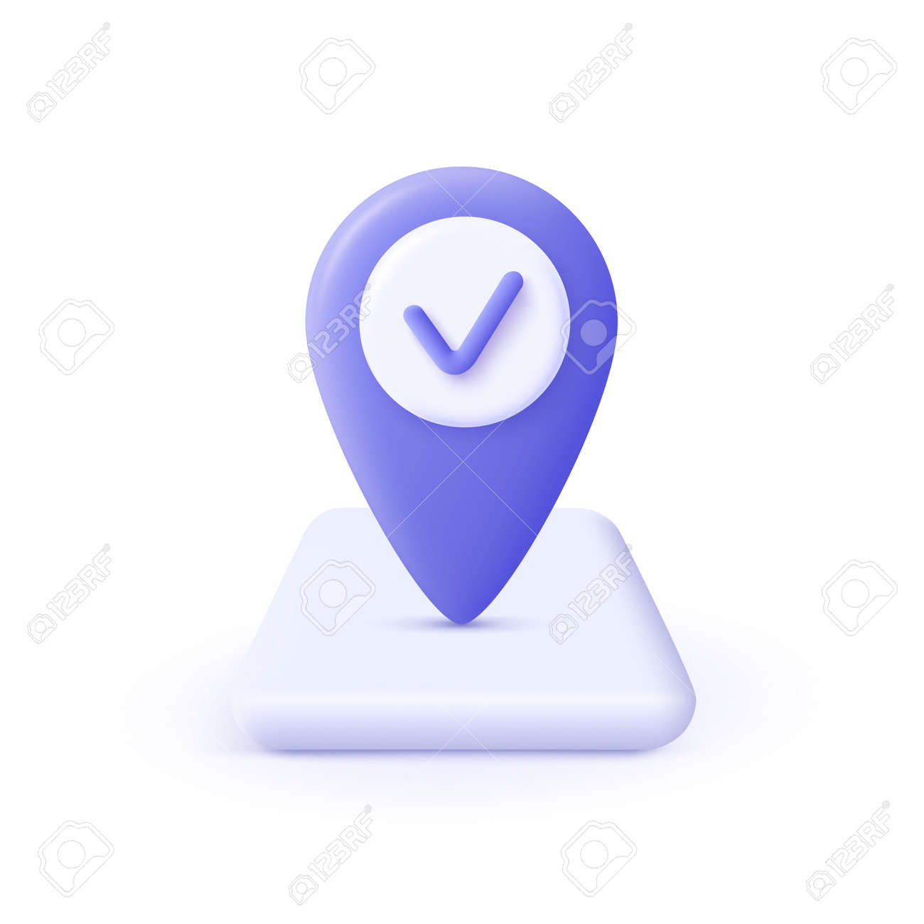Checkmark icon. Approvement concept. Geolocation map mark, point location. 3d realistic vector illustration. - 171635990