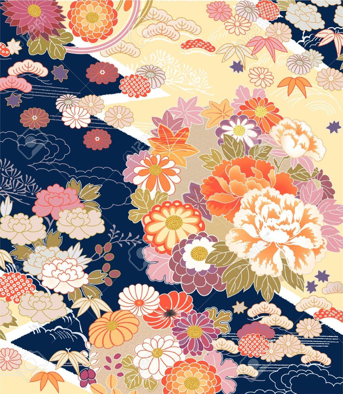 Montage of traditional Kimono motifs - 21945552