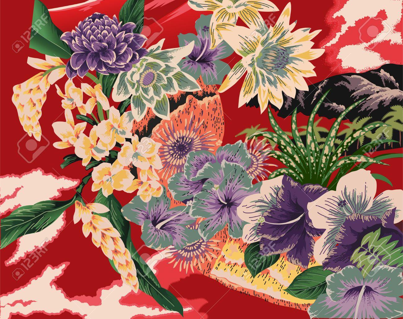 Unique Vintage Hawaiian Kimono Style Print Royalty Free Cliparts