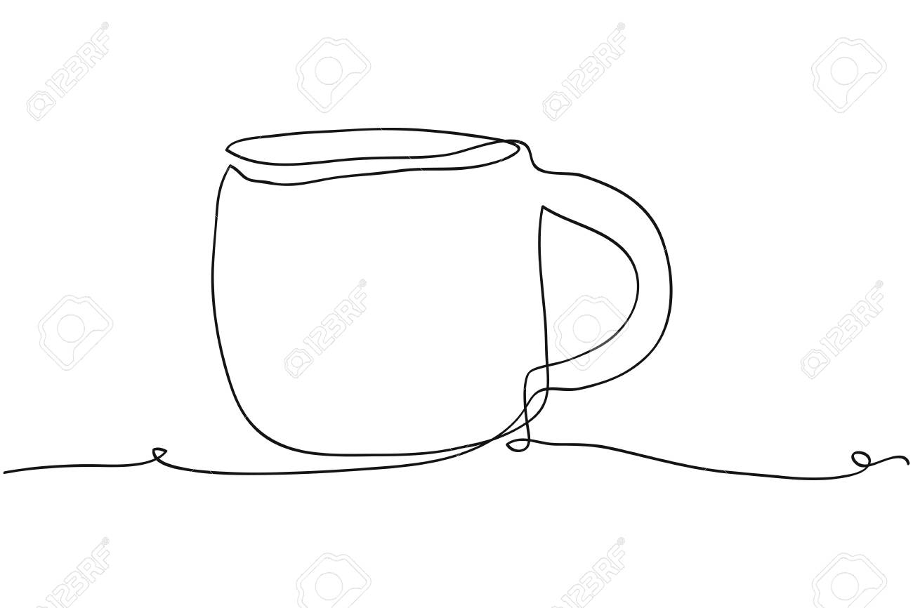 Continuous Line Drawing Of Coffee Mug Vector Illustration Royalty Free Cliparts Vectors And Stock Illustration Image 101871775