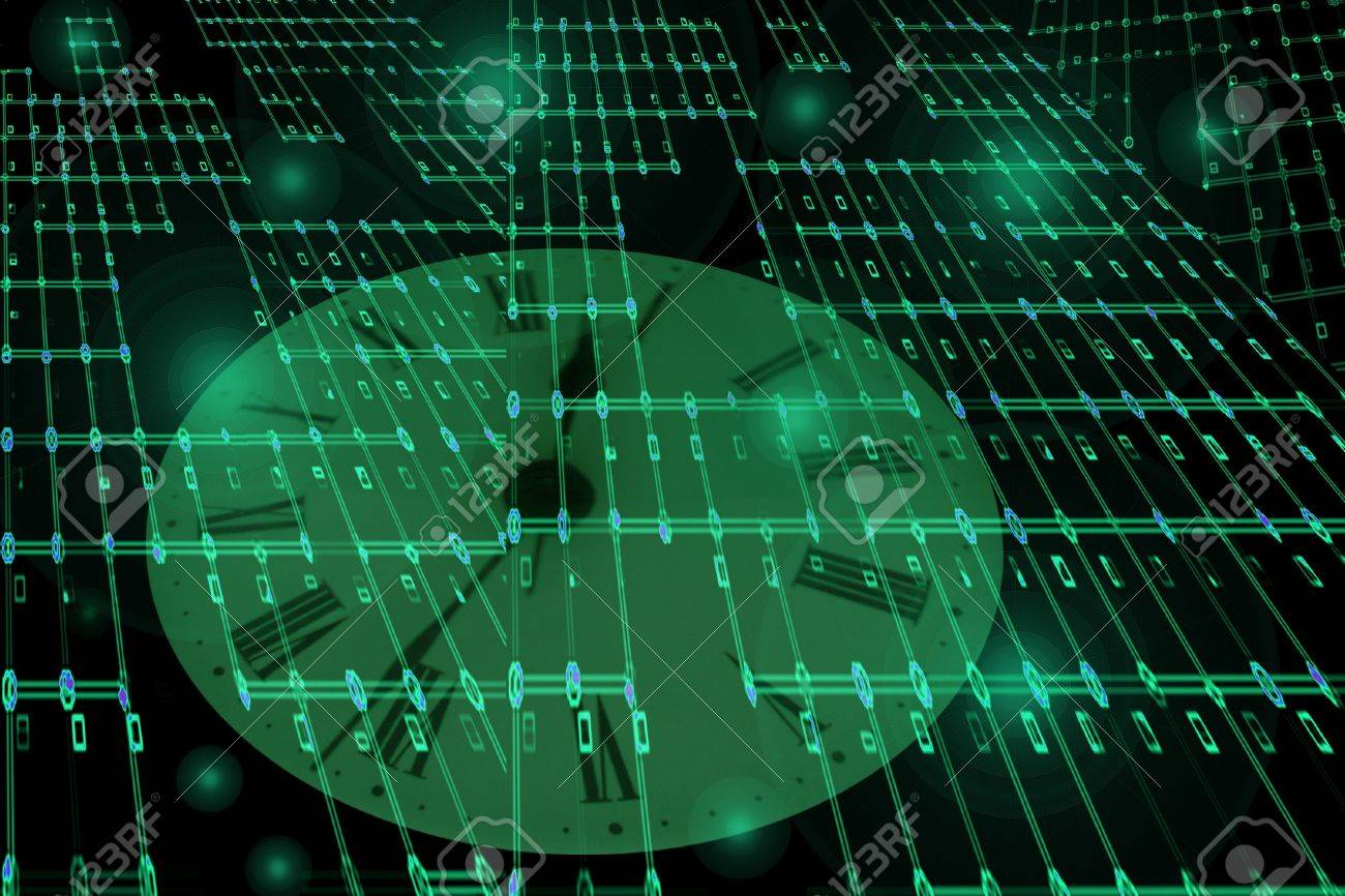 Network Texture with time floating in cyberspace Stock Photo - 7024786