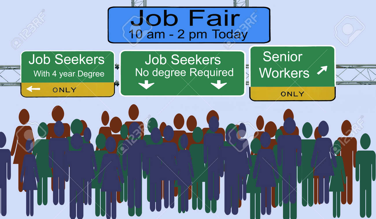 Street signs advertising job fair for different types of employees - 154854507