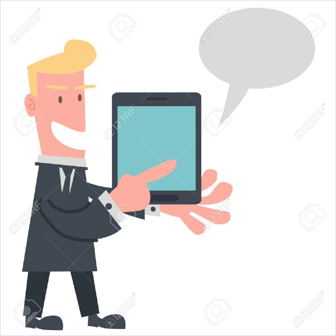 Businessman Using Tablet to Presentation Stock Vector - 28589215
