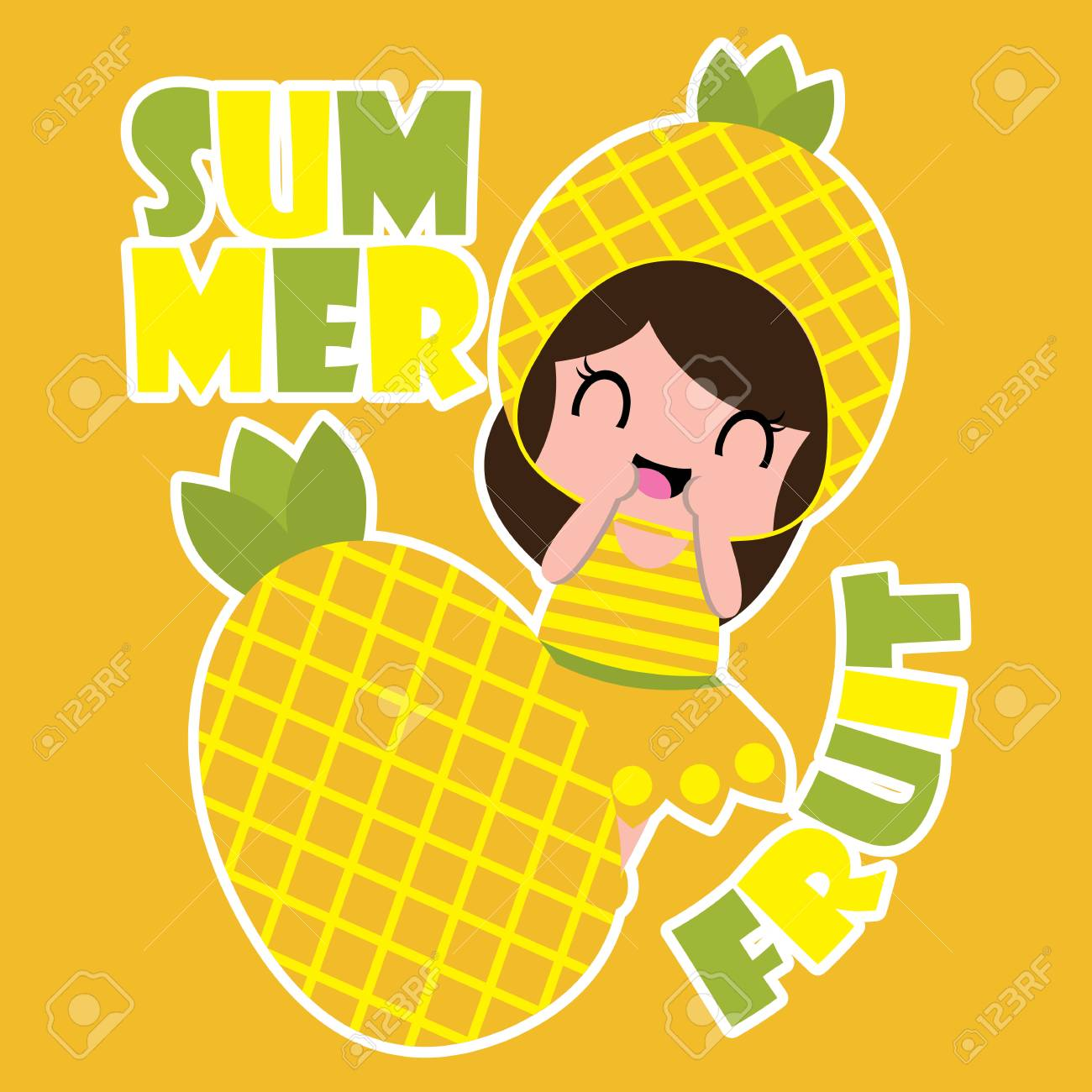 82247518 summer vector cartoon with cute pineapple girl and pineapple fruit for kid t shirt background and wa