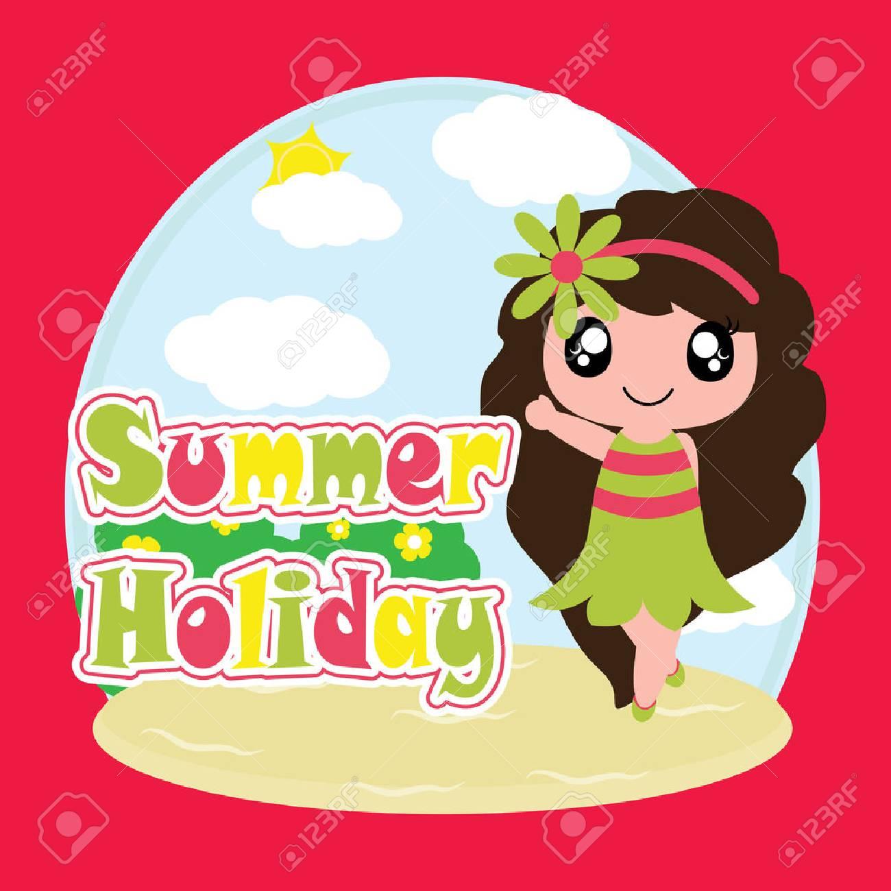 子供イラストの夏の休日のベクトルの漫画夏はがき壁紙