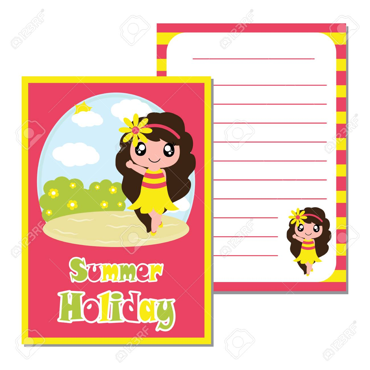 Cute Girl Say Hello On The Beach Background Vector Cartoon Kid Notebook Paper Wallpaper