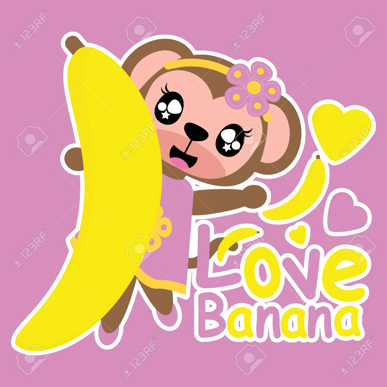 Cute Monkey Girl Loves Banana Vector Cartoon Illustration For