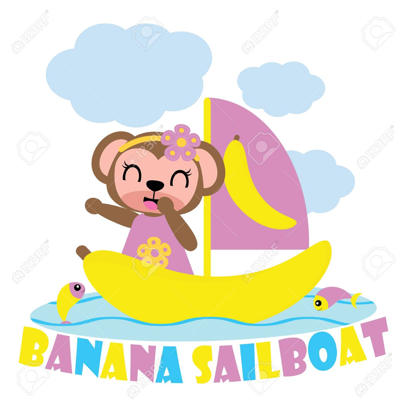 Cute Monkey Girl On Sailing Boat Vector Cartoon Illustration ...