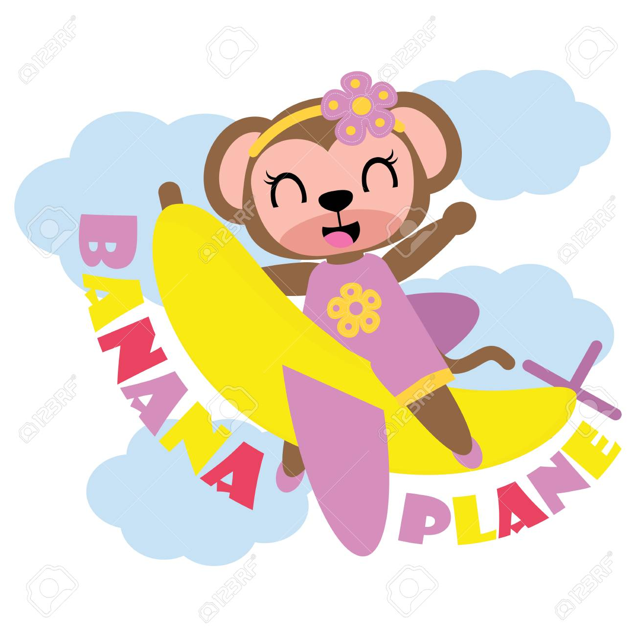 Cute Monkey Girl Flies With Banana Plane Vector Cartoon Illustration