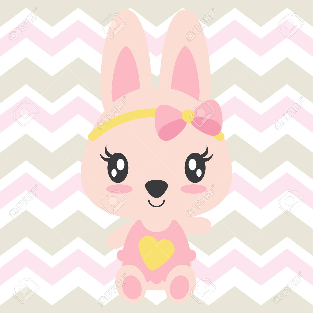Cute Baby Bunny Sits On Chevron Background Vector Cartoon Illustration Royalty Free Cliparts Vectors And Stock Illustration Image 83248467