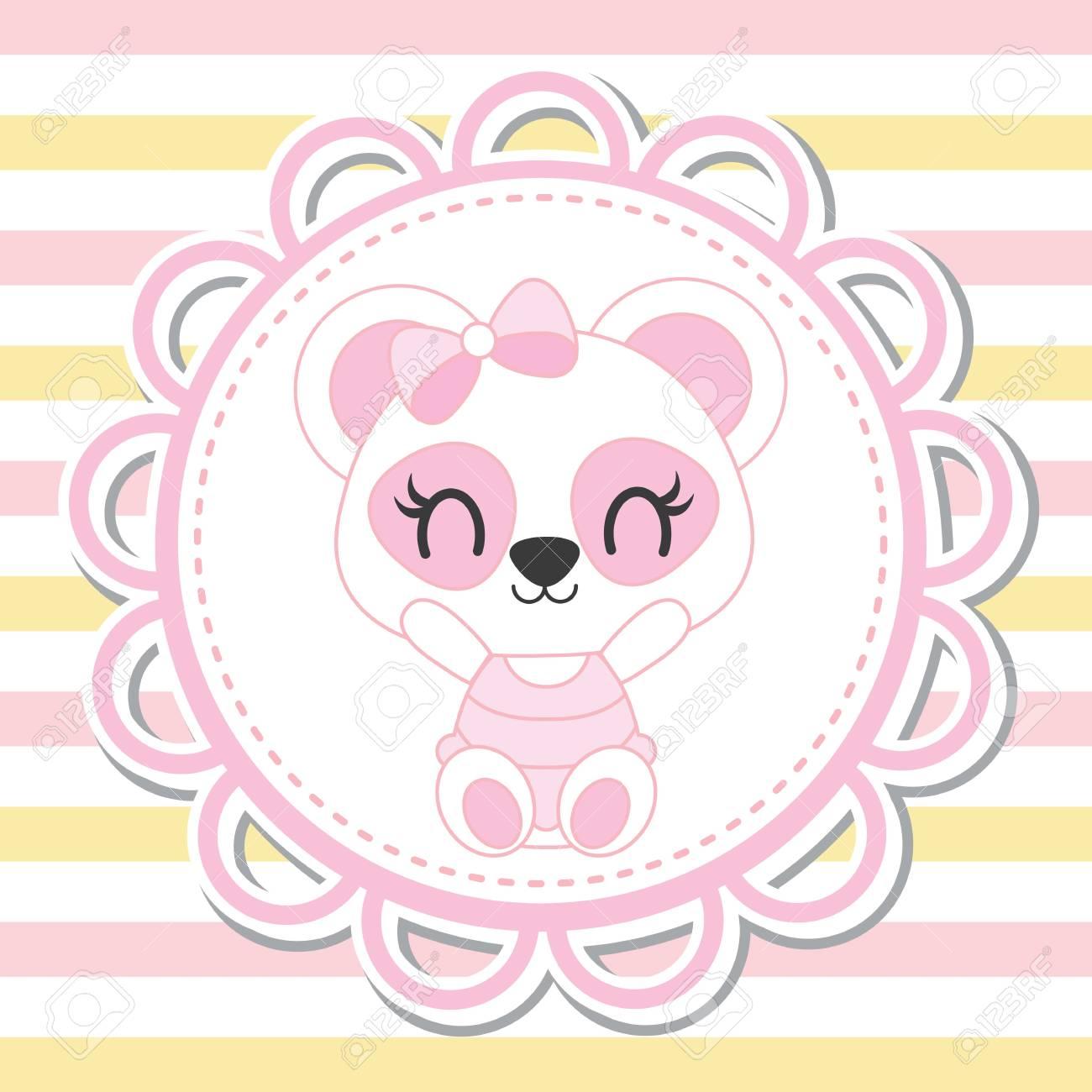 Joli Bébé Panda En Fleur Cadre Sur Fond Rayé Vector Illustration De Dessin Animé Pour La Conception De Carte De Douche De Bébé Conception De T Shirt