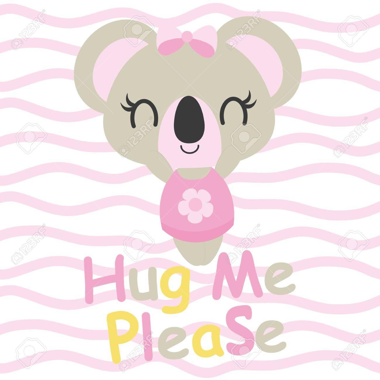 Bebe Mignon Koala A Besoin De Calins Illustration De Dessin Anime De Vecteur Pour La Conception De Carte De Douche De Bebe Conception De T Shirt