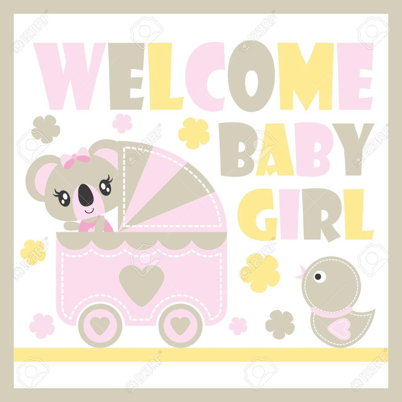 Mignon Bebe Koala Dans Le Panier De Bebe Et Illustration De Dessin Anime De Vecteur De Jouet De Canard Pour La Conception De Carte De Douche De Bebe