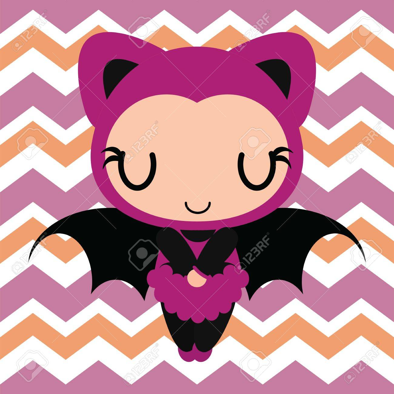 Cute Bat Girl Sleeps On Chevron Background Vector Cartoon Il Ration For Halloween Card Design Wallpaper