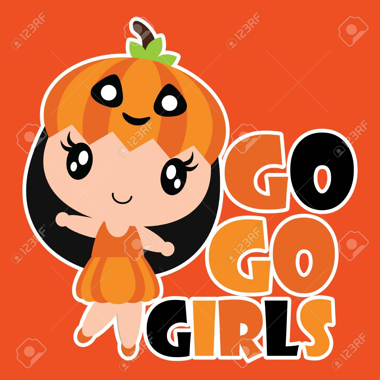 d64507bb1c8e3 Cute pumpkin girl smiles vector cartoon illustration for halloween..