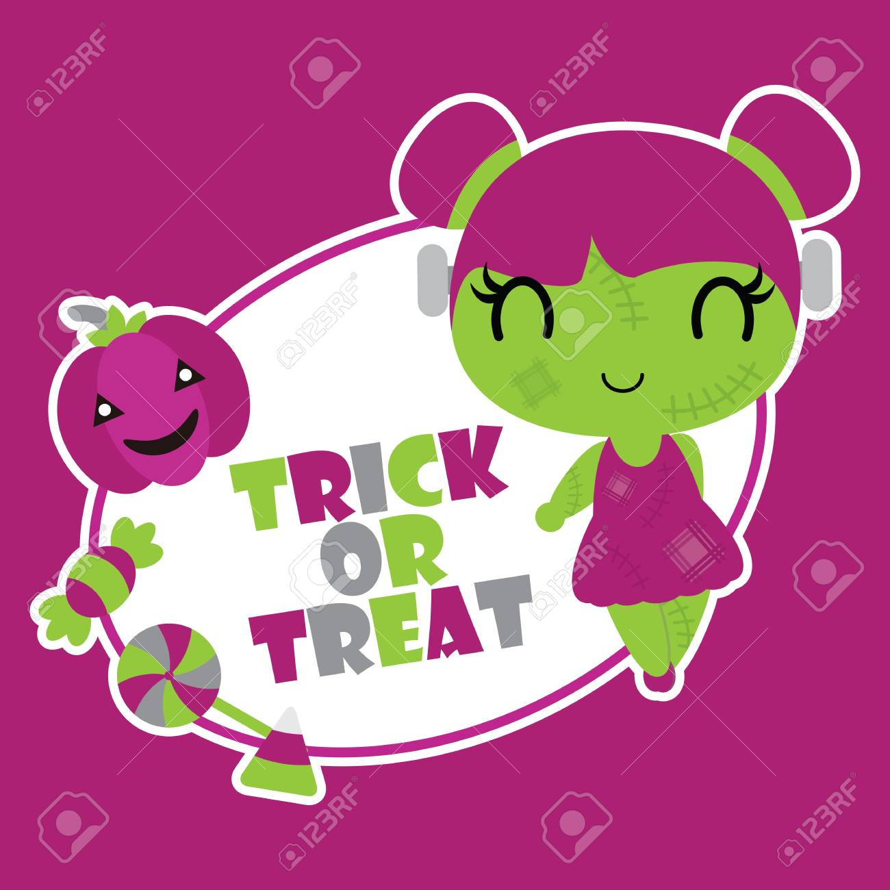 Best Wallpaper Halloween Pink - 85132261-cute-zombie-girl-with-trick-and-treat-text-vector-cartoon-illustration-for-halloween-card-design-wal  Image_151130.jpg