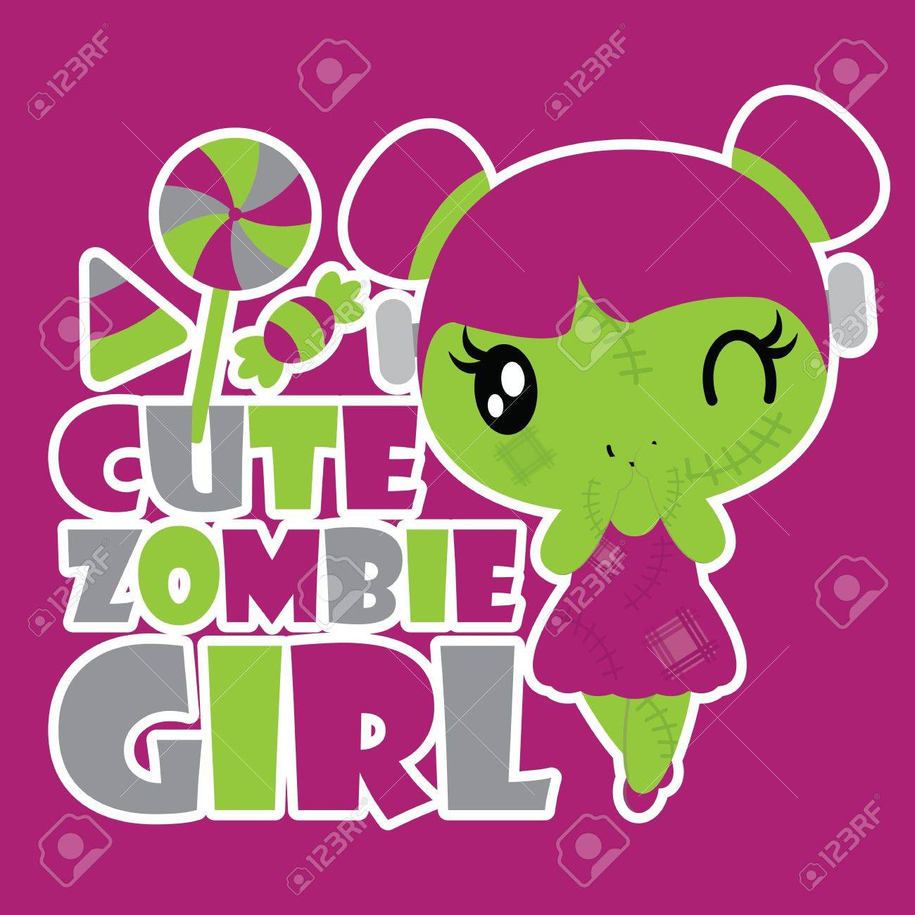 a70d6bc04d242 Cute zombie girl with colorful candies vector cartoon illustration..