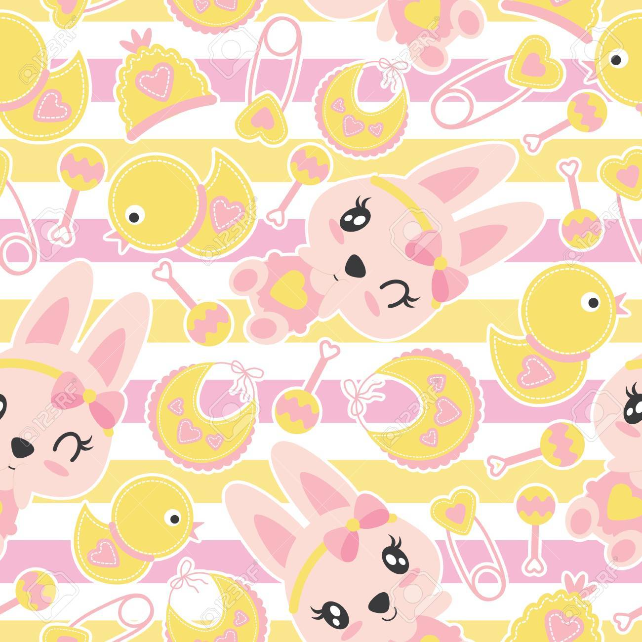 Seamless Pattern Of Cute Bunny Girls And Baby Shower Items On Royalty Free Cliparts Vectors And Stock Illustration Image 85560991