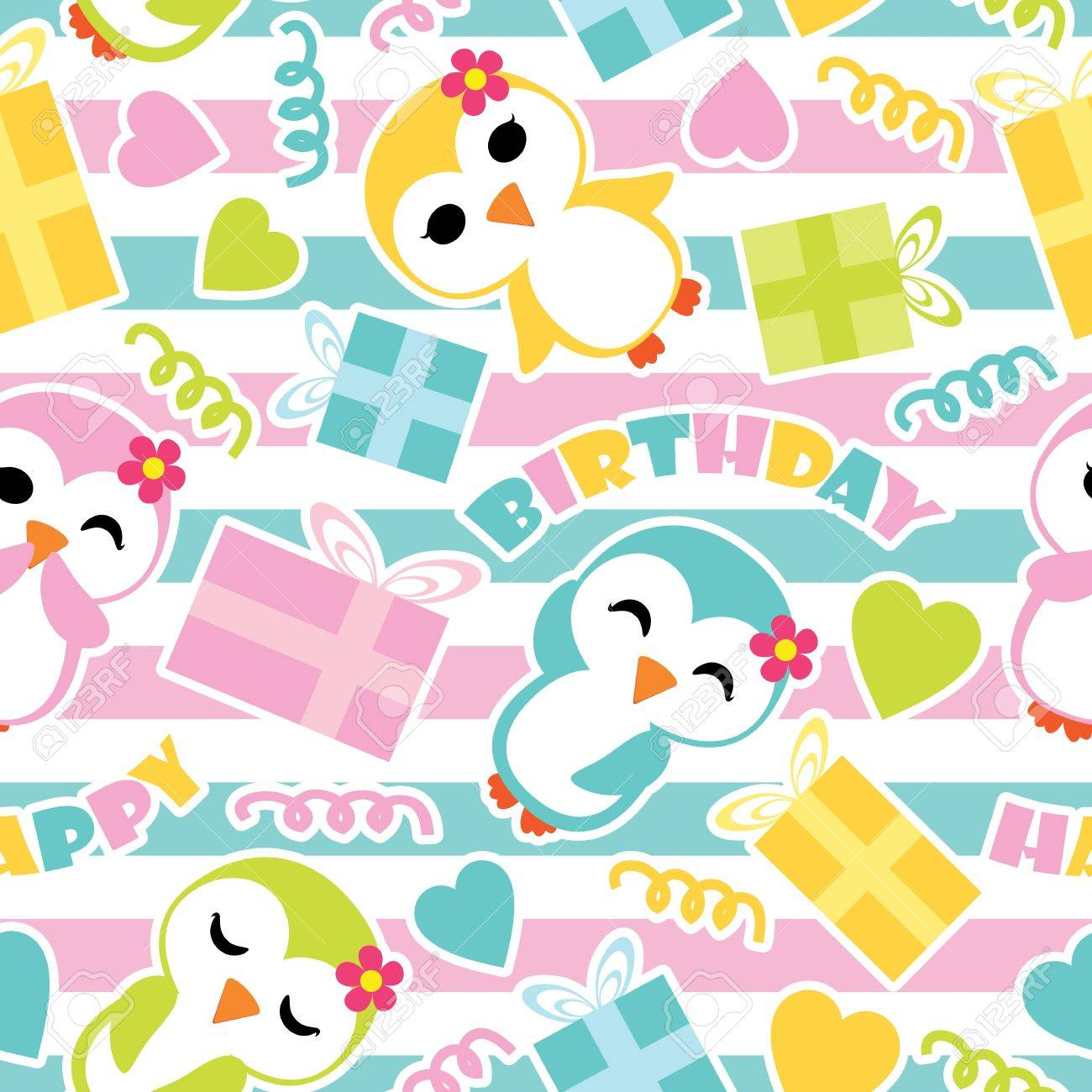 seamless pattern of cute penguin girls and birthday gift boxes on striped background vector cartoon illustration