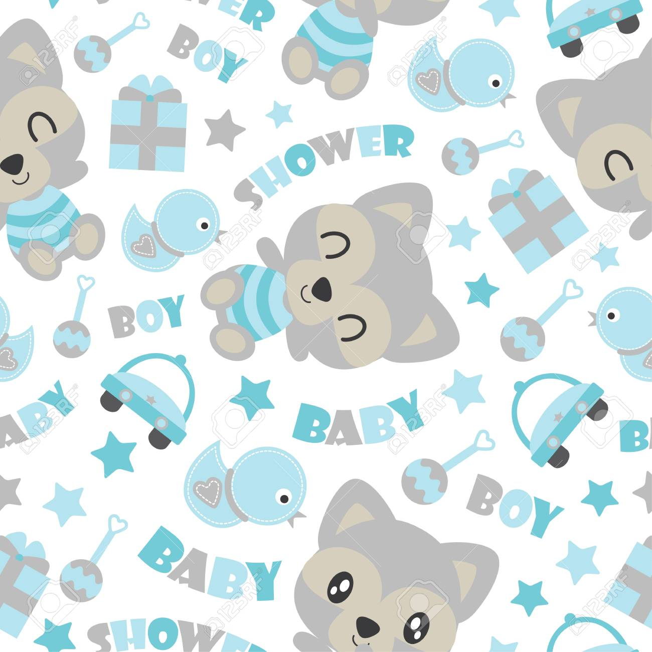 Seamless Pattern Of Cute Baby Raccoon And Kid Toys Vector Cartoon