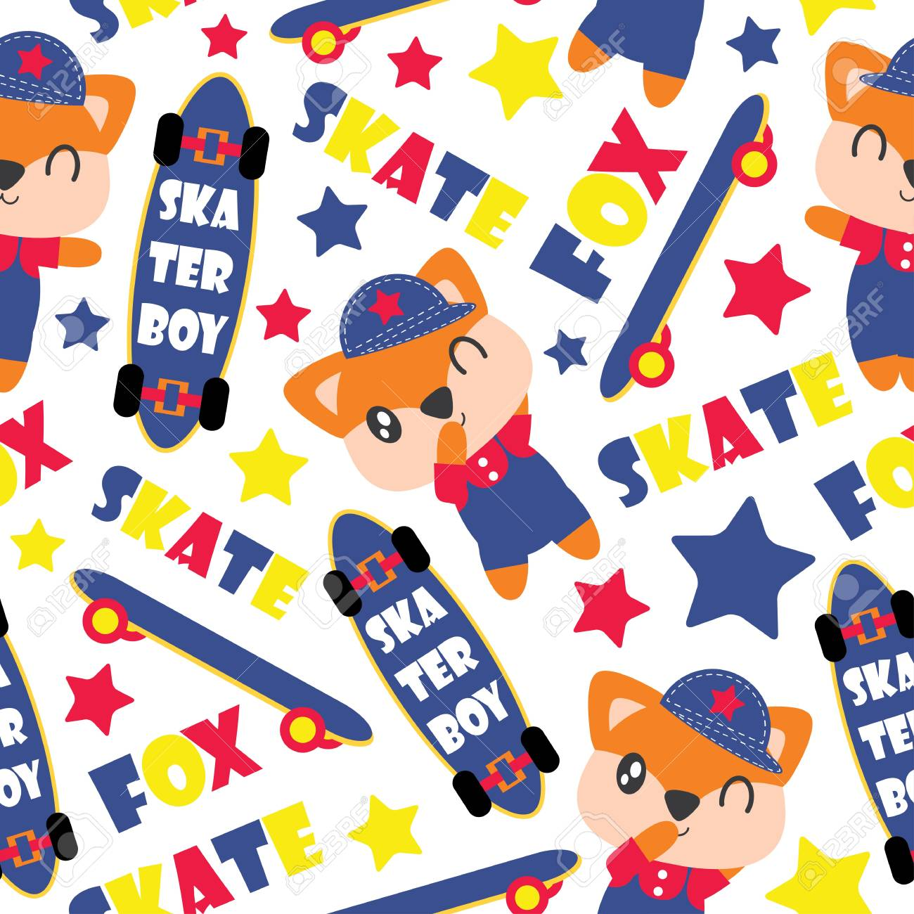 A Pattern Of Cute Fox Boy And Skateboards Cartoon Illustration For Baby  Shower Wrapping Paper,