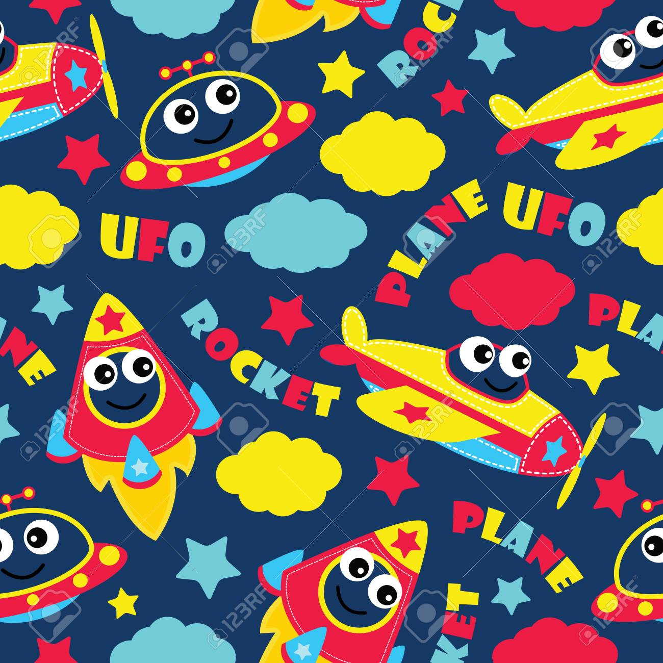 Seamless Pattern Of Cute Plane Rocket And Ufo On Blue Background Vector Cartoon Illustration For