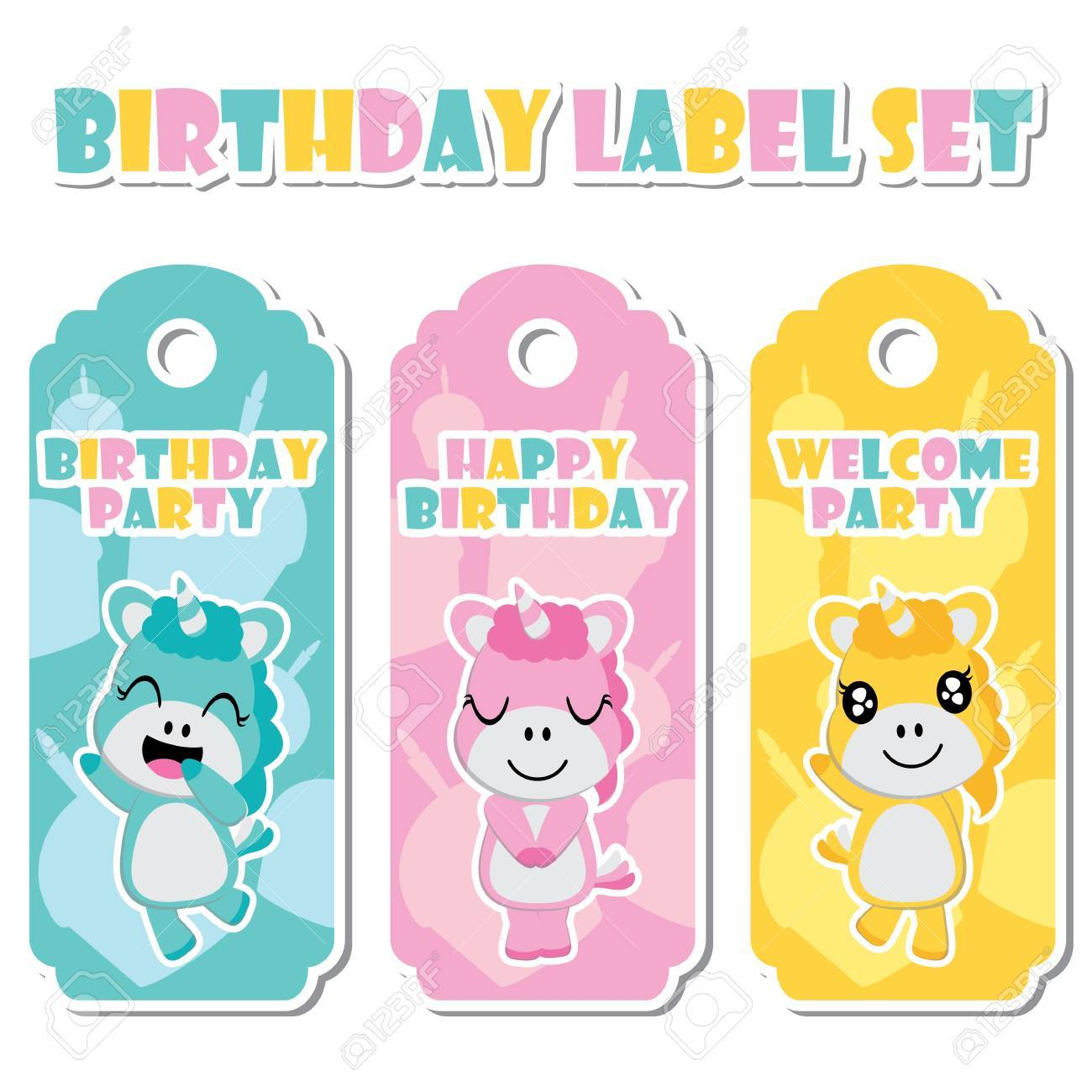 Cute Unicorn Girls On Birthday Cake Background Vector Cartoon