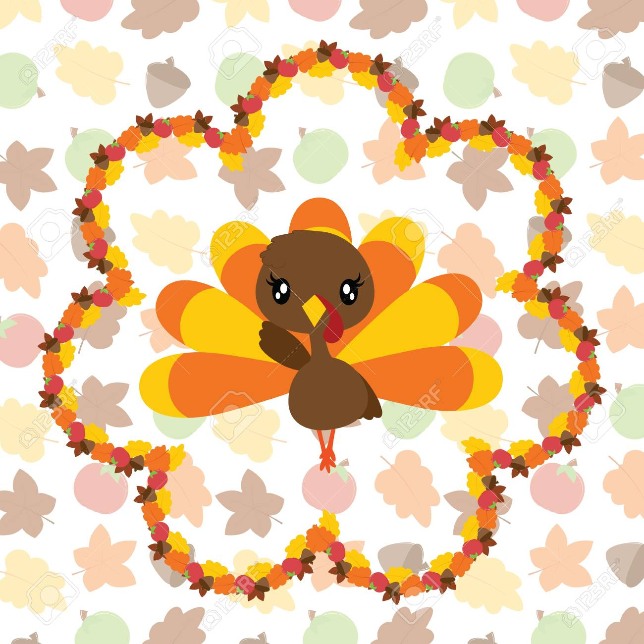 かわいいトルコの女の子メープル葉花輪ベクトル漫画イラスト感謝祭の日