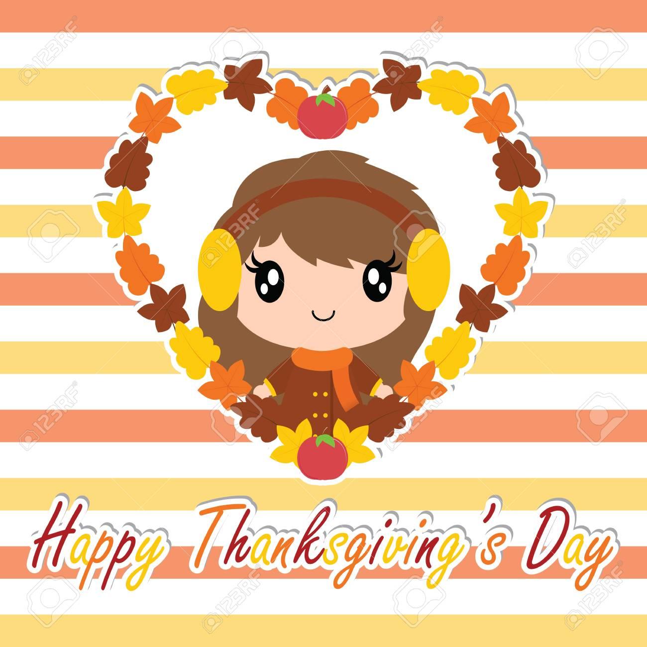 メープルでかわいい女の子が感謝祭の日カードのデザイン壁紙